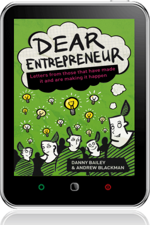 Cover of Dear Entrepreneur on Tablet by Danny Bailey and Andrew Blackman