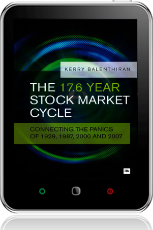 Cover of The 17.6 Year Stock Market Cycle on Tablet by Kerry Balenthiran