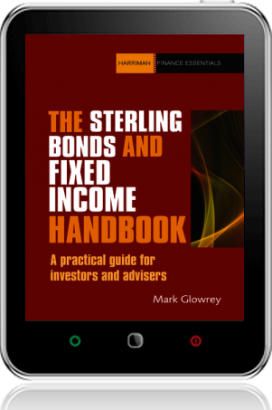 Cover of The Sterling Bonds and Fixed Income Handbook on Tablet by Mark Glowrey