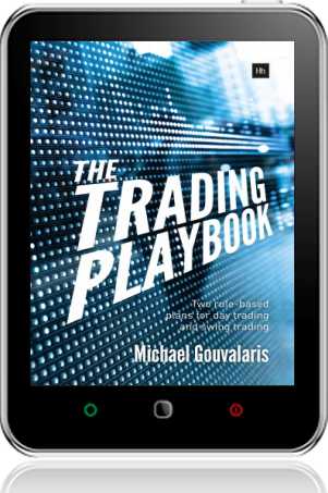 Cover of The Trading Playbook on Tablet by Michael Gouvalaris
