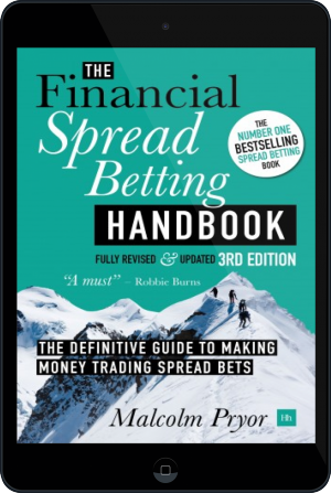 Cover of The Financial Spread Betting Handbook, 3rd edition on Tablet by Malcolm Pryor