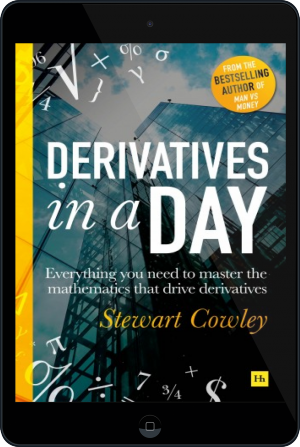 Cover of Derivatives in a Day on Tablet by Stewart Cowley