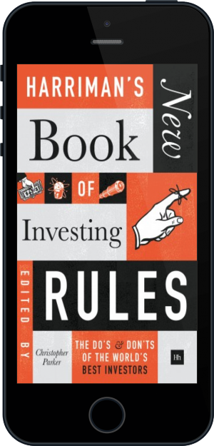 Cover of Harriman's NEW Book of Investing Rules on Mobile by Christopher Parker