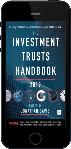 Cover of The Investment Trusts Handbook 2019 on Mobile by Jonathan Davis